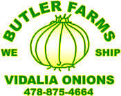 Butler Farms Logo - Contact our onion farm in Dexter, Georgia, for more information on our sweet Vidalia onions and to place and order today!